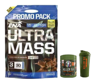 Ultra Mass 3 Kg Ena + Killer 5.0 +shaker 2 En 1. Pre Workout
