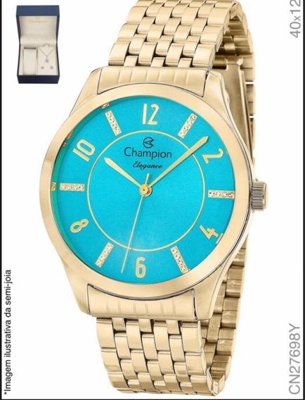 Relógio Champion Feminino Dourado Com Kit Cn27698y