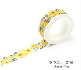 Washi Tape - Estampa De Flores Amarelas - 15mm X 7m
