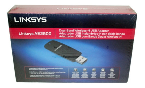 Usb Adapter - Linksys Ae2500 N600 Dual-band Wireless-n