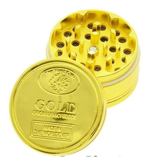 Grinder Moledor Metálico Dorado Dos Niveles De Bolsillo
