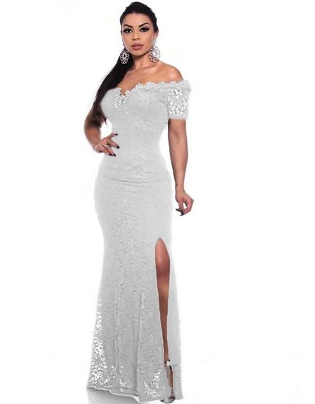 Vestido De Noiva Com Fenda Na Perna Branco Casamento Sexy