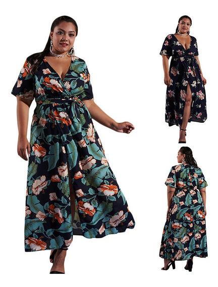 Women Plus Size Long Dress Floral Print Plunge V-neck High