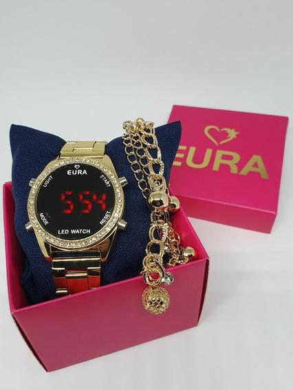 Relógio Digital Feminino Ajustável Dourado C/pulseira+caixa