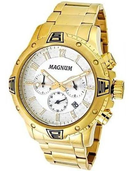 Relógio Dourado Masculino Magnum Cronógrafo Ma34405h