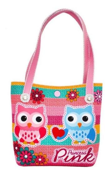 Bolsa Infantil Princesa Pink Estampa Corujinhas Com Flores