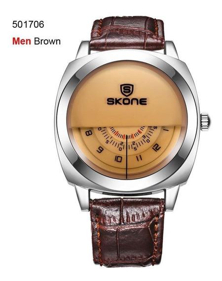 Relógio Diferente Skone Super Inovador Couro Estiloso