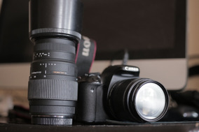 Câmera Canon T3i/600d + Lente Sigma 70 300 Macro + 18 55