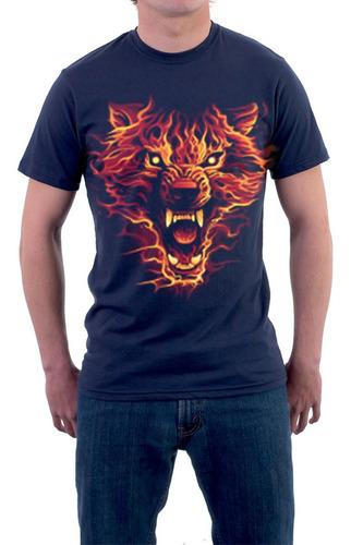 Imagen 1 de 2 de Full Weight Arts 100%cotton, Manga Corta Wolf Fire