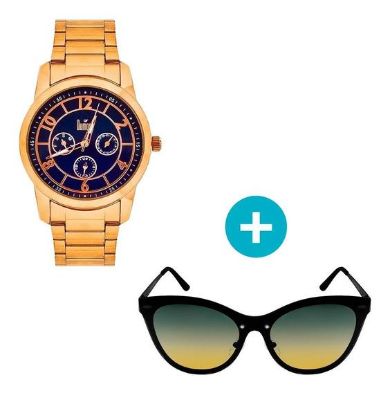 Relógio Dumont Feminino Analógico, Caixa 4,2cm, Rosé, Pulsei