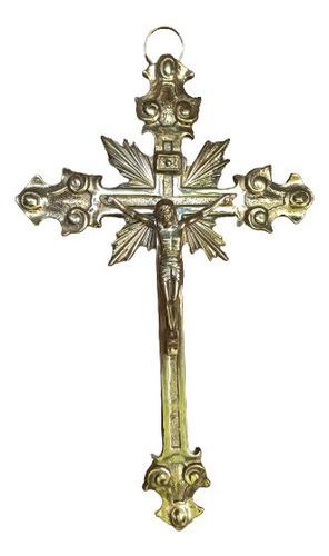 Imagen 1 de 7 de Crucifijo Cruz Con Cristo En Bronce 27 Cm Para Pared