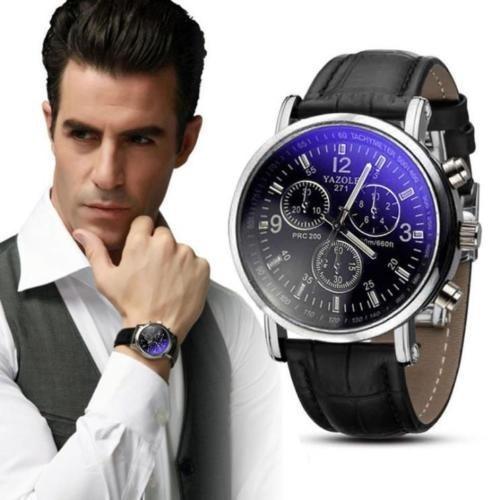 Relógio Masculino Yazole Importado Em Couro Barato Masculino