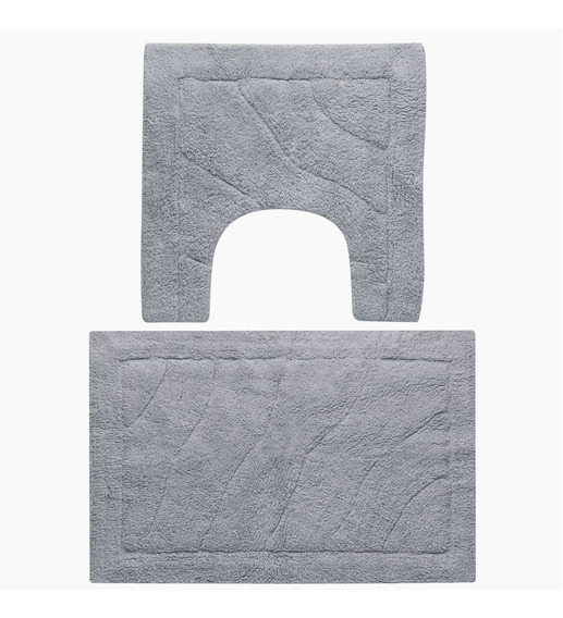 Tapete Agra Jogo De Banheiro Algodão Liso 2 Peças Cinza