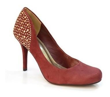 Sapato Feminino Scarpin Via Marte Hotfix Vermelho Vinho