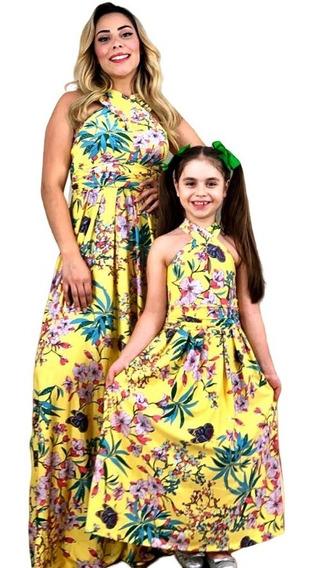 Kit Tal Mãe Tal Filha Vestidos Longo Infantil Florido