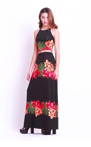 Maxi Falda Negra Tropical
