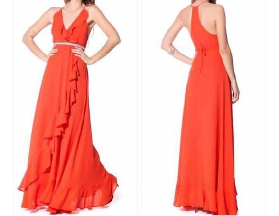 Vestido De Melocotón Rojo-naranja