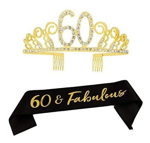 Imagen 1 de 7 de 60 Cumpleaños Tiara Y Sash- 60 Y Fabuloso Negro Marco Del S