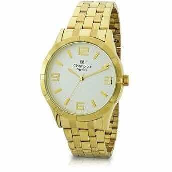 Relógio Champion Dourado Feminino Com Kit Cn25154w