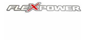 Emblema Flex Power Adesivo Aço Escovado Chevrolet 130 X 20