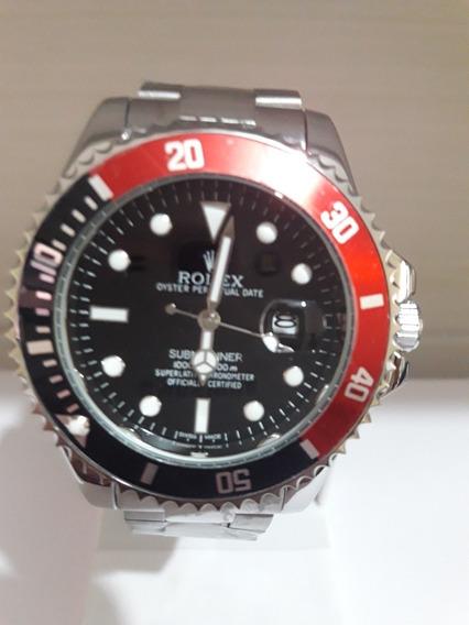 Relógio Masculino Submariner Prata Bísel Preto Vermelho 45mm