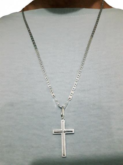 Corrente Piastrine 70cm + Crucifixo Prata Pura 925 + Brinde
