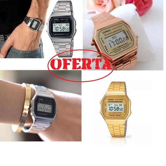 Relógios Casio Digital Aço Vintage Unisex Prata Dourado Rosa