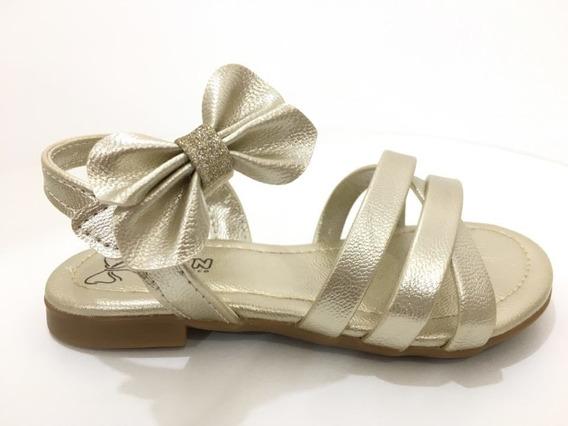 Sandalia De Laço Lacinho Dourada Feminino Klin Festa