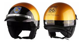 Capacete Kraft Custom Sheriff Dourado Chips Harley +brinde
