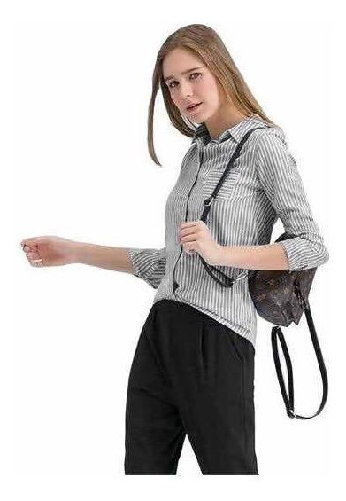 Camisa Dama Mujer Rayada Elastizada Premium Entallada