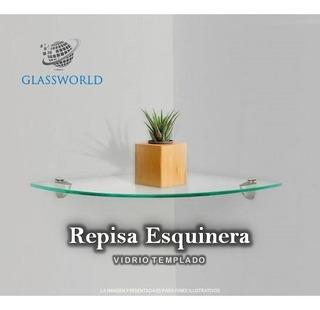 2 Esquineros De Vidrio Templado De 9 Mm, Incluye Herrajes