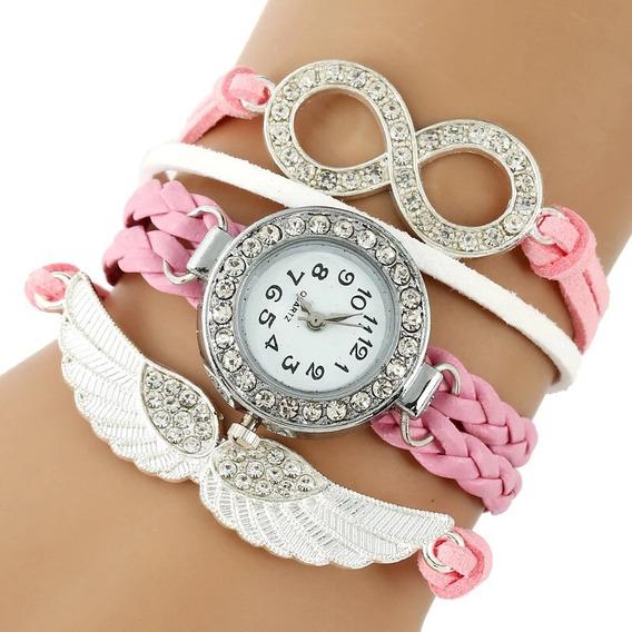 Relógio Anjo Eterno Com Strass Rosa Luxo - Envio Imediato