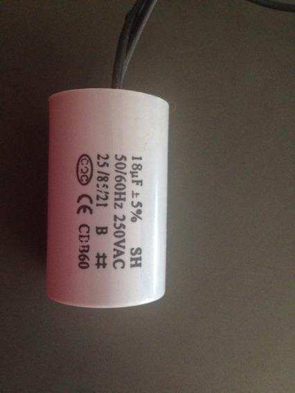 Capacitor 18 Uf 50-60hz 250vac 2 Fios