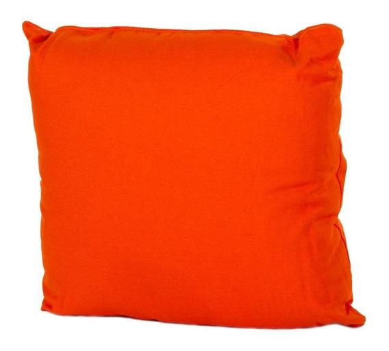 Set De 4 Cojines Decorativos 43x43 Con Cierre Loneta Naranja