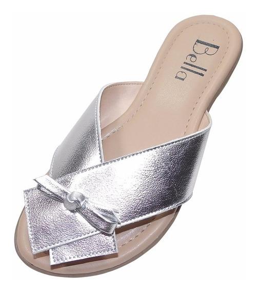 Sandália Rasteira Bella Shoes Tira Larga Prata Metalizado