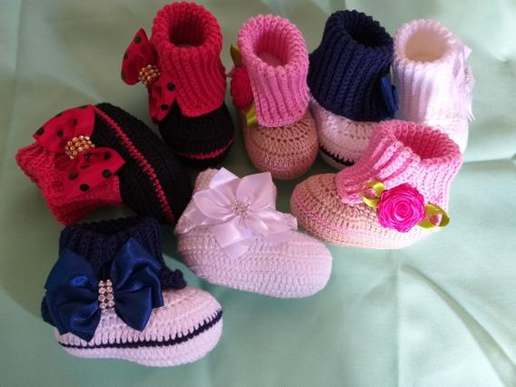 Botinha De Croche Para Bebês De 0 A 5 Meses