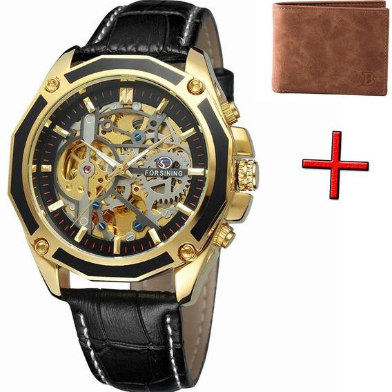 Relógio Masculino Mecânico Automático Luxo Original + Brinde