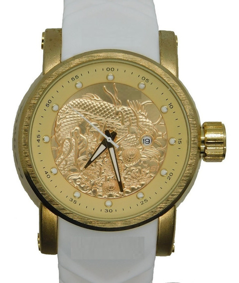 Relógio Masculino S1 Dourado Luxo Importado Dragon + Caixa
