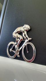 Emblema Adesivo Ciclista Bicicleta Universal Cromado