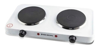 Anafe Electrico Ken Brown Blanco 2 Hornallas 2000w Doble