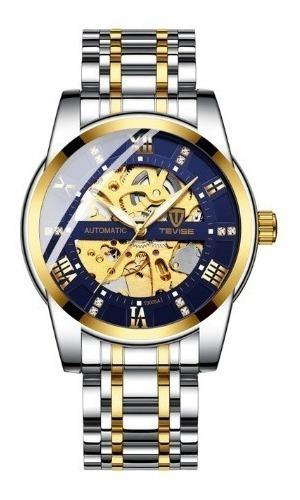 Relógio Tevise Automático Mecânico Inox T9005 Prata E Dourad