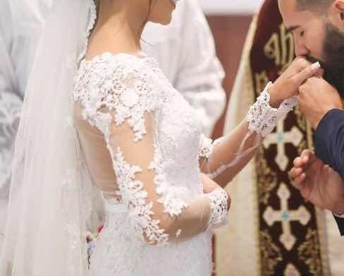 Vestido De Noiva Semi Sereia Pérola Noivas Manequim 36/38