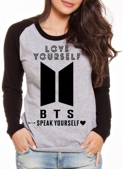 Camiseta Blusa Manga Longa Kpop Bts Speak Yourself Promoção