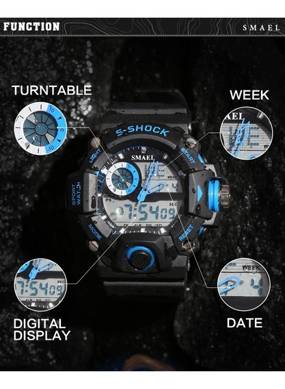 Relógios S- Shock Masculino - Detalhes Em Laranja - Orange