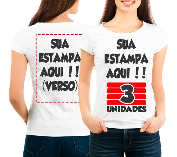 Kit 3 Camisetas Personalizada Frente E Verso Com Sua Estampa