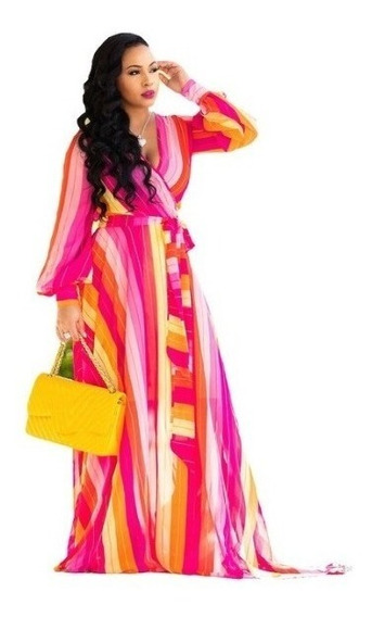 Vestido Maxi Playa Alberca Colores Gaza Fresco Casual Largo