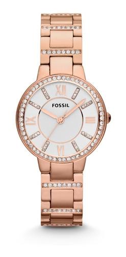 Reloj Dama Fossil Es3284 Color Oro Rosado De Acero