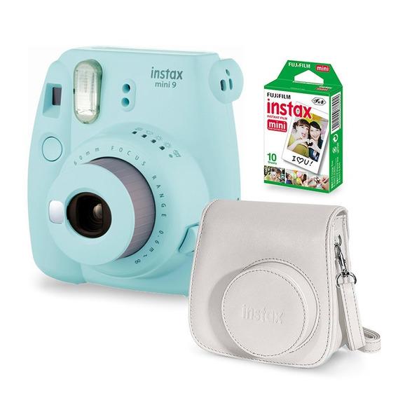 Câmera Instax Mini 9 Gelo Azul + Filme + Case Câmera