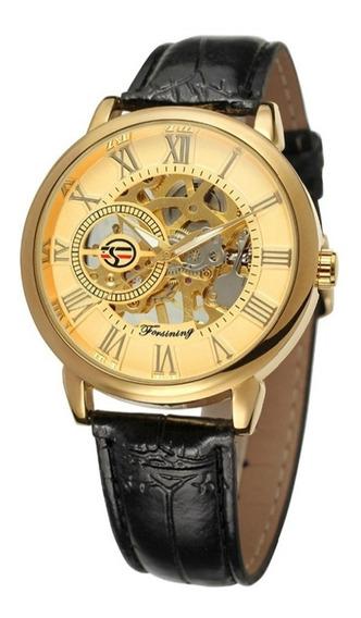 Relógio De Pulso, Esqueleto Masculino, Super Maquina Dourado