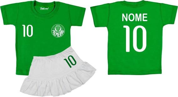Conjunto De Time Menina Camiseta Infantil Palmeiras Nome Personalizado Costas Bebê